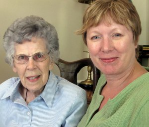 My oldest friend and garden mentor, Imogene and me